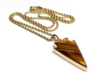 Tiger's eyes necklace, tiger's eyes pendant, amulet pendant, arrow pendant, men necklace, gemstone necklace, gold necklace, men fashion