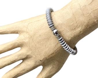 Gemstone bracelet, men's bracelet, Gray bracelet, beaded bracelet, men jewelry, blue bracelet, hematite bracelet