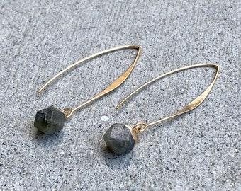 Dangling Square Gemstone Earrings