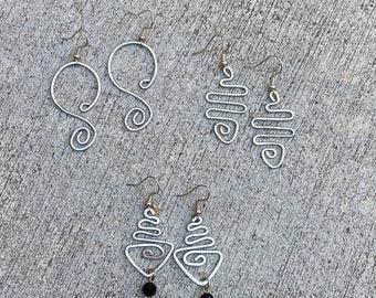 Hammered earrings, long earrings, dangling earrings, drop earrings, sterling silver, shaped earrings, women's earrings, silver earrings
