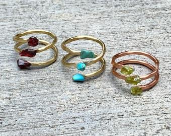 Handmade Hammered Gemstone Ring