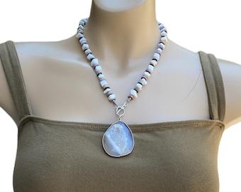 Sea Shell Handmade Quartz Druzy Pendant Necklace