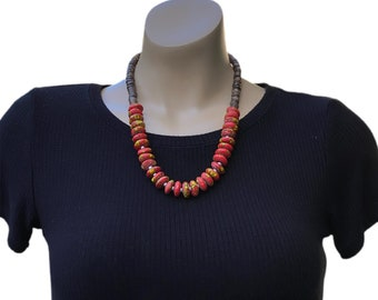African Red Ceramic Beads Necklace