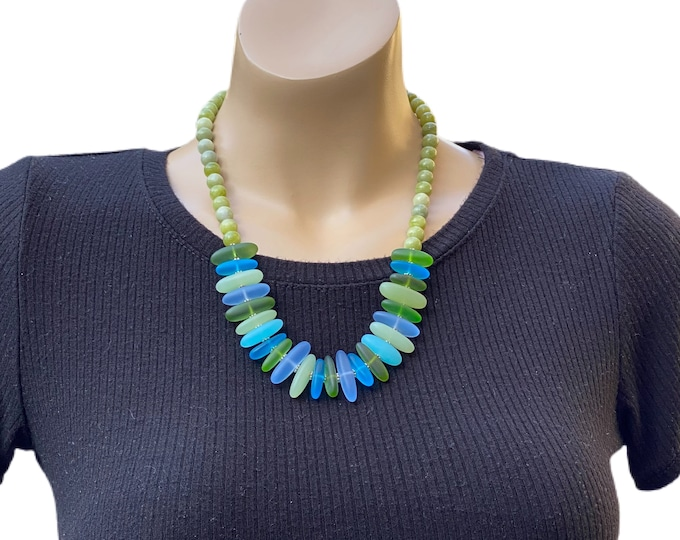 Glass Beads and Green Gemstone Necklace