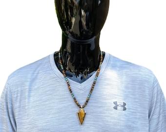 Tiger's Eye Arrow Gemstone Necklace for men, amulet pendant, arrow pendant, gemstone necklace, silver necklace, men fashion