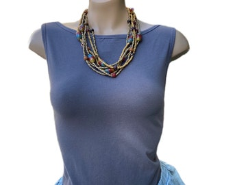 Brown Multi Stands Necklace
