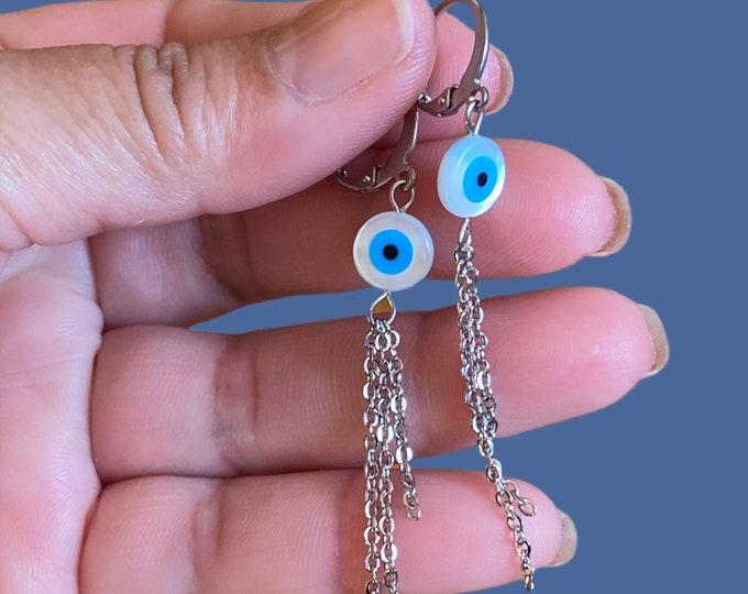 Evil Eyes Tassel Hoop Earrings