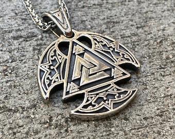 Viking Pendant necklace, amulet pendant, good luck pendant, men's necklace, man necklace, silver necklace