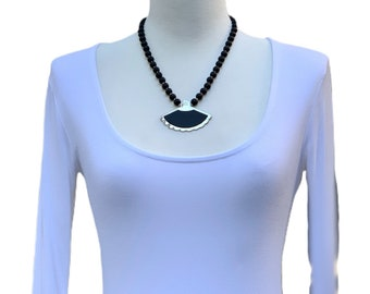 Black Onyx Vintage Pendant Necklace