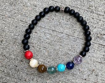 Chakra Gemstone bracelet, beaded bracelet, energy stone bracelet, boho bracelet, buddha's bracelet, handmade bracelet, tassel