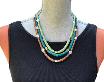 Green necklace, multi strand necklace, handmade necklace, women necklace, vintage necklace, brown necklace, statement necklace, unique gift