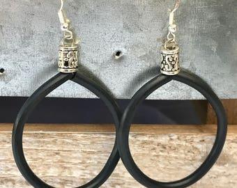 Black Hoops Earrings