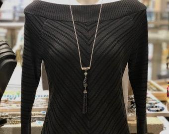 Purple necklace, silver necklace, tassel necklace, chain necklace, long necklace, black necklace, handmade necklace, women necklace
