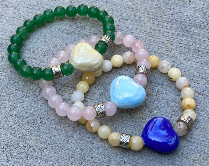Heart Gemstone Bracelet