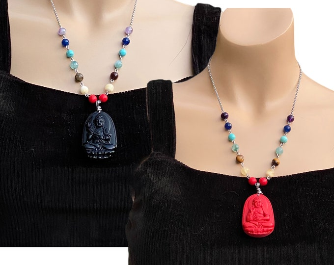 Buddha Chakra Stones necklace, handmade and one of a kind gemstones necklace