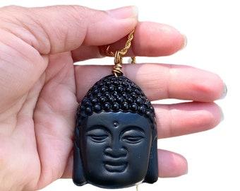 Buddha necklace, Gemstone pendant, amulet pendant, good luck pendant,men's necklace, man's necklace, gold necklace