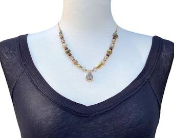 Golden beads druzy pendant handmade necklace