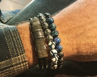 Gemstone bracelet, men's bracelet, Energy Stone bracelet, beaded bracelet, men jewelry, blue bracelet, hematite bracelet