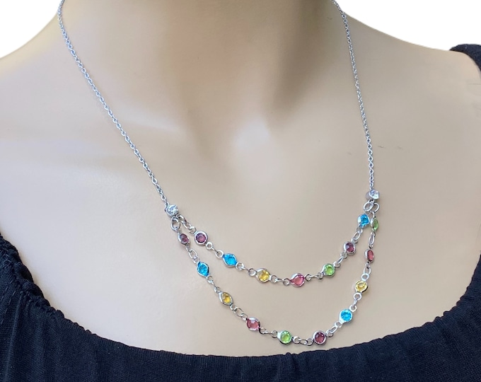 Crystal Layered necklace, handmade and one of a kind gemstones necklace