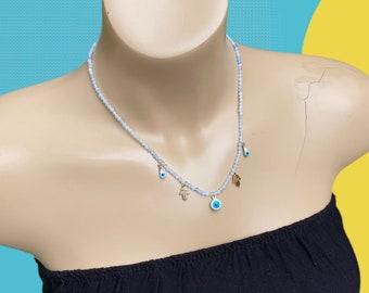 Aquamarine & Turkish Eye  Beaded Necklace