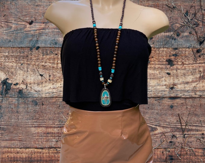 Tibetan Elephant Pendant Necklace with Tiger's Eye and Turquoise