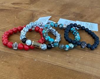 Gemstone bracelet - hematite bracelet - jasper bracelet - men's bracelet - lava stone bracelet - men's  gift