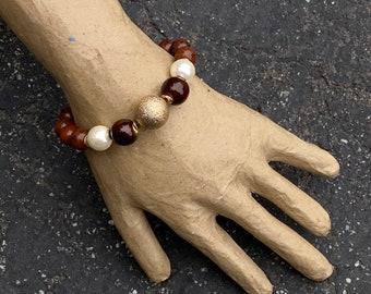Gemstone bracelet, beaded bracelet, energy stone bracelet, red bracelet, gold bracelet, lava stone bracelet, handmade bracelet