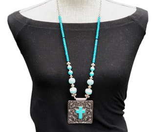 Turquoise Cross Long Necklace