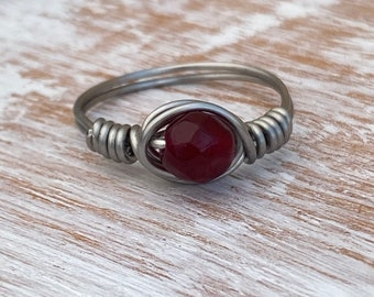 Garnet Wired Wrapped Ring
