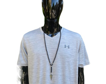 Long necklace, black necklace, hematite necklace, gemstone necklace, tiger's eye necklace, arrow necklace, men's necklace, unique gift