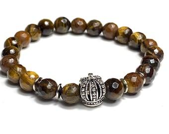 Gemstone bracelet - healing stone bracelet - tigers eyes bracelet - men's bracelet - brown bracelet - men's  gift