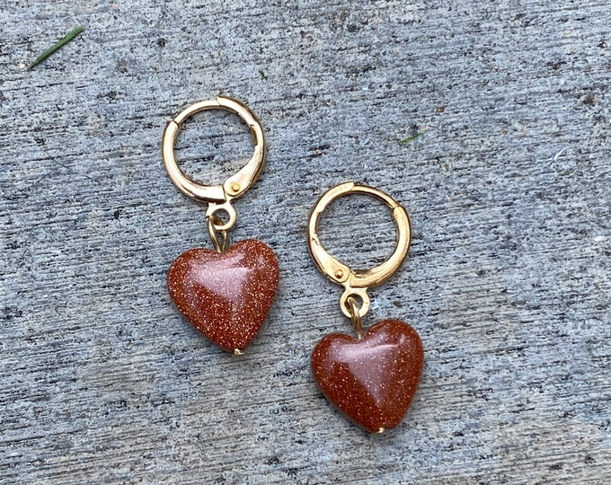 Gemstone Heart Hoop Earrings