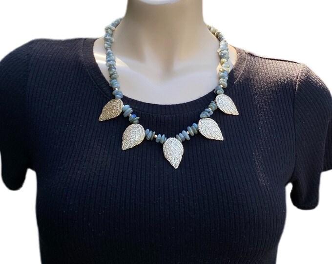 Golden Leaves and Labradorite Gemstone Necklace