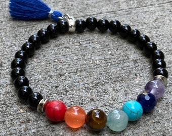 Chakra Tassel bracelet, beaded bracelet, energy stone bracelet, boho bracelet, buddha's bracelet, handmade bracelet, tassel