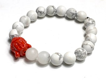 Gemstone bracelet - beaded bracelet - energy stone bracelet - men bracelet - white bracelet - men's gift