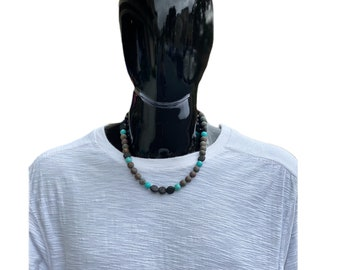 Turquoise & Brown Gemstone Necklace