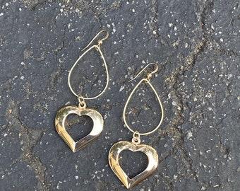 Heart Gold Filled Statement Earrings