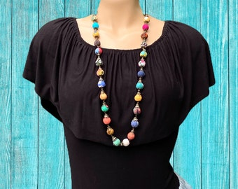 Fabric Beads Long Handmade Necklace, Colorful Necklace