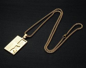 Cross necklace, crucifix pendant, amulet pendant, good luck pendant, men necklace, man necklace, gold necklace