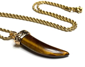 Tiger's eyes wolf tooth necklace