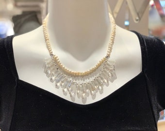 Crystal & Pearls Statement Necklace