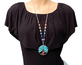 Long Chakra Tree of Life necklace, Gemstone pendant, amulet pendant, long necklace, handmade necklace