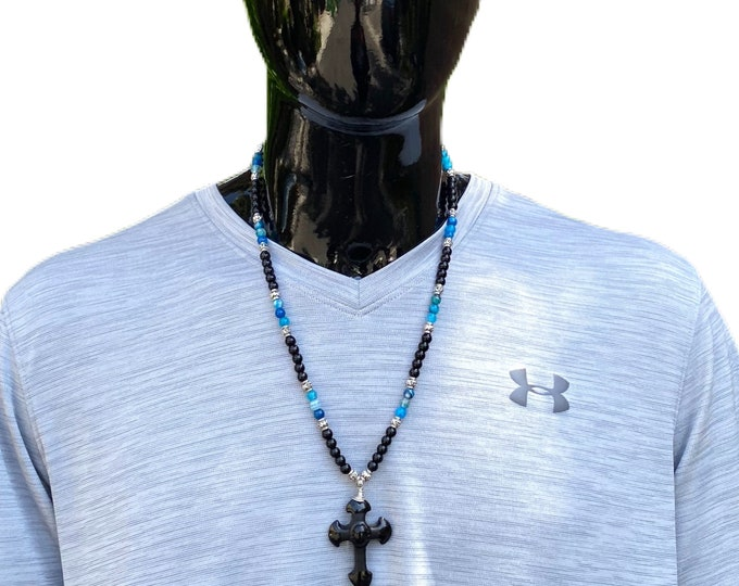 Obsidian Cross Onyx Gemstone Necklace for men, amulet pendant, arrow pendant, gemstone necklace, silver necklace, men fashion