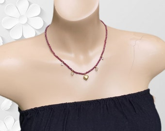 Ruby Gemstone Heart Beaded Necklace