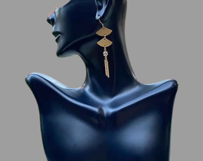 Gold Tassel Dangling Statement Earrings
