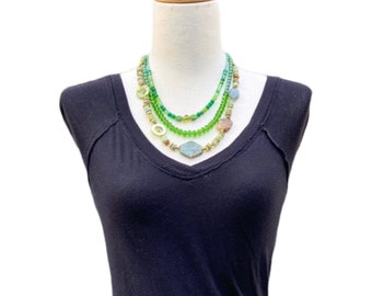 Multi strand green Statement Necklace