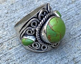 Sterling Silver & Jasper Vintage Ring
