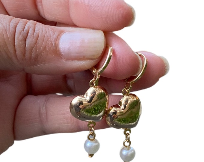Pearls & Heart Gold Filled Statement Earrings
