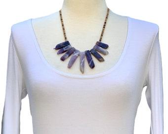 Amethyst necklace, Gemstone Necklace, Purple Necklace, Bohemian Necklace, Statement Necklace, Spikes Necklace, Handmade Necklace