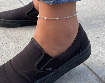 Genuine Gemstones Beads and chain ankle bracelet
